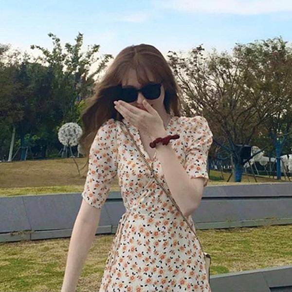 碎花裙 2020年夏季新款設計感小清新森系復古少女風超仙rouje碎花洋裝