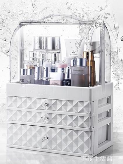網紅化妝品收納盒防塵亞克力桌面化妝盒大梳妝臺護膚品口紅置物架