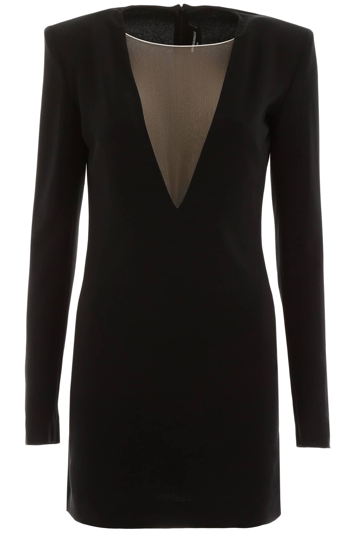 DSQUARED2 MINI DRESS WITH TULLE INSERT 42 Black