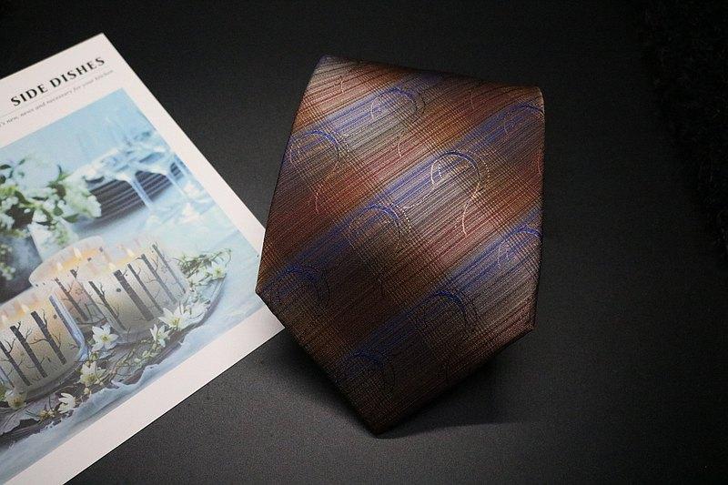 咖啡色藍絲帶真絲領帶/正裝禮服標準necktie