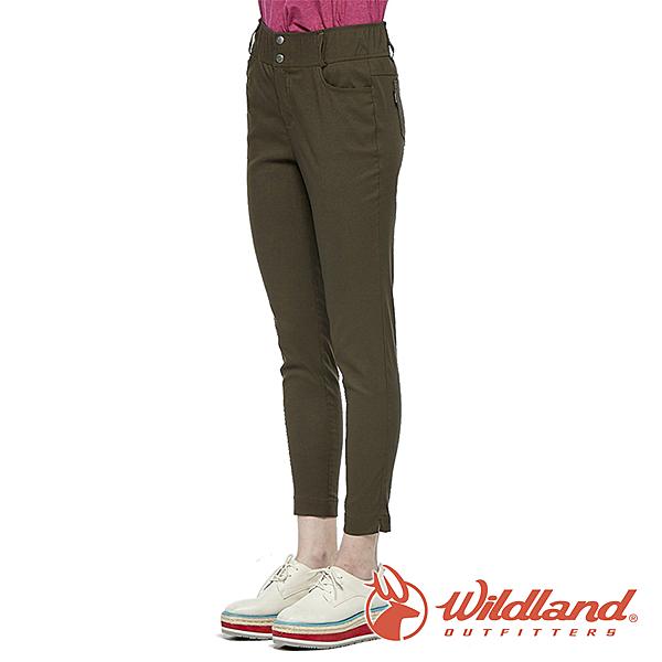【wildland 荒野】女 彈性抗UV合身收腹九分褲『摩卡』0A81315 戶外 休閒 運動 露營 登山 騎車