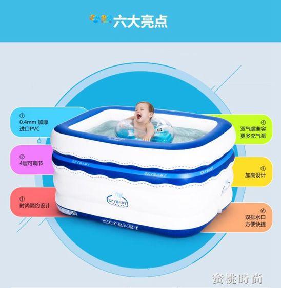 思貝 兒童充氣嬰兒游泳池寶寶家用游泳桶 嬰幼兒海洋球池保溫玩具