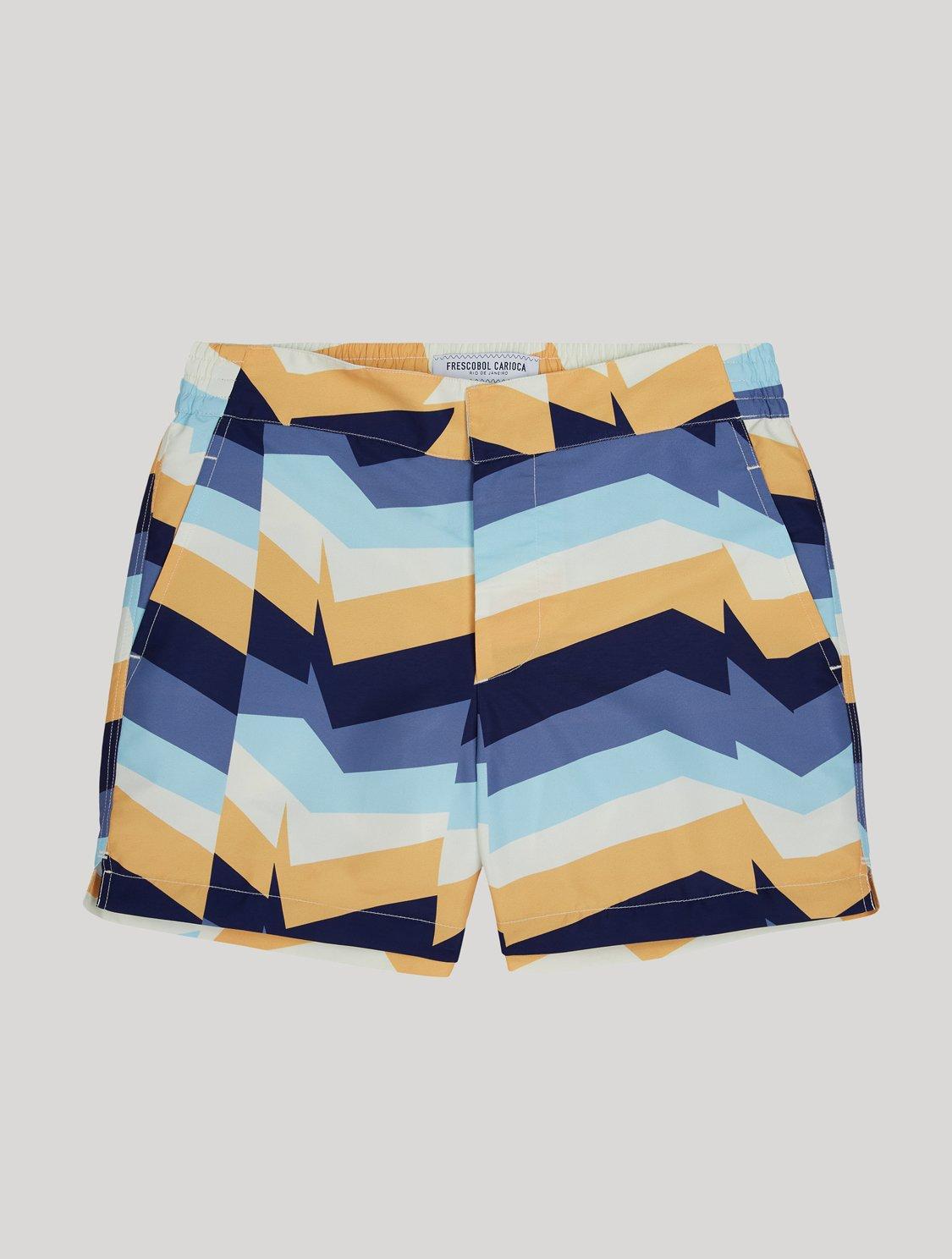 Classic Swim Shorts Distillation Print Slate Blue & Nectarine 34