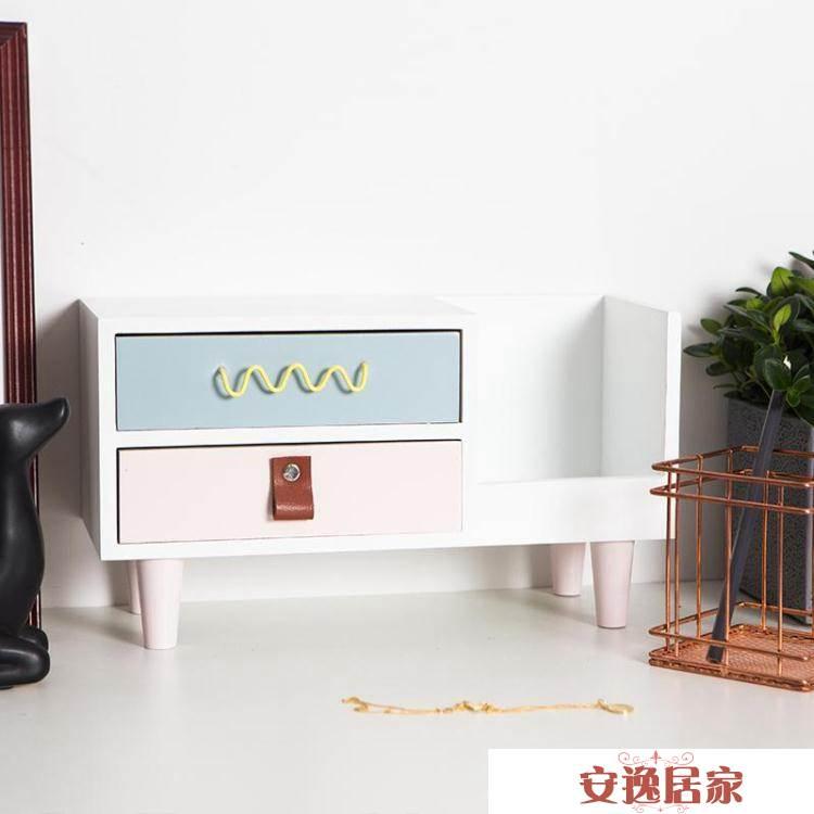 桌面收納盒抽屜式辦公整理盒簡約首飾化妝品護膚品塑料防塵置物架