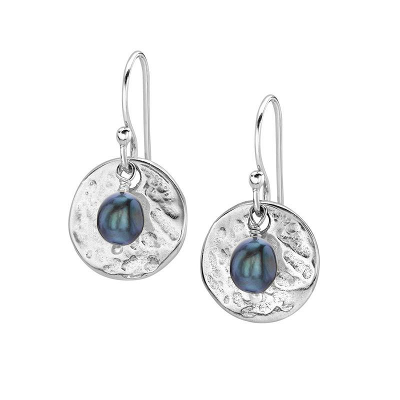 Hammered Disc & Peacock Freshwater Pearl Nomad Earrings