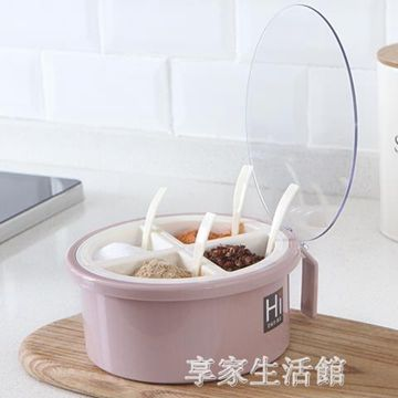 調料盒廚房用品收納瓶家用四格一體套裝調味品裝鹽糖味精的鹽罐子