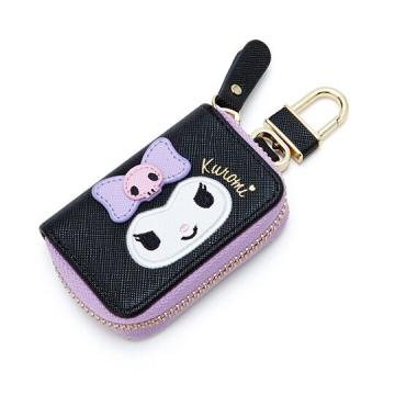 酷洛米 皮質拉鍊鑰匙包《黑紫.大臉》掛飾.收納包.遙控包