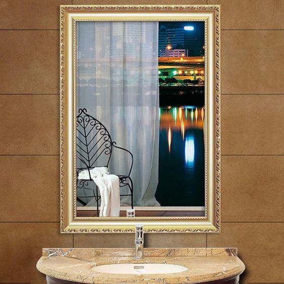 歐式粘貼浴室鏡子貼墻化妝鏡洗手間廁所梳妝鏡帶框衛生間鏡子壁掛