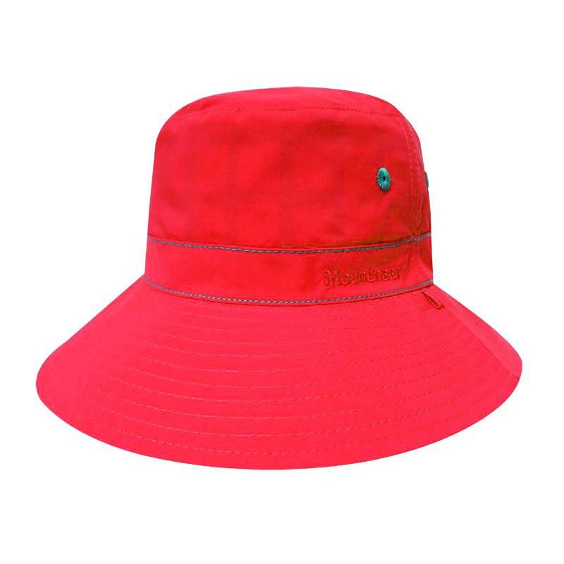 【Mountneer山林】透氣抗UV雙面漁夫帽 防曬.遮陽帽/素面/時尚印花 /11H18-52橘紅/橘綠格/野雁戶外