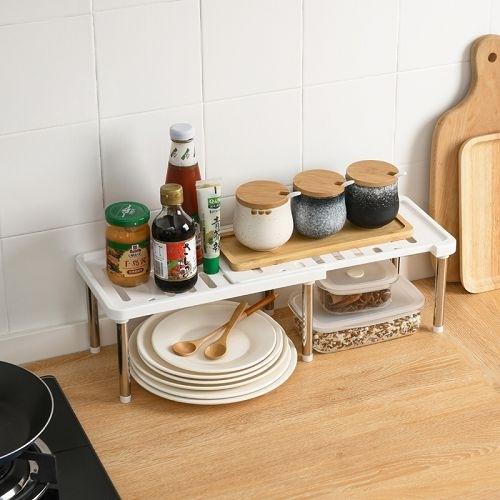 廚房分隔伸縮整理架 櫥櫃分層置物架 桌面收納層架