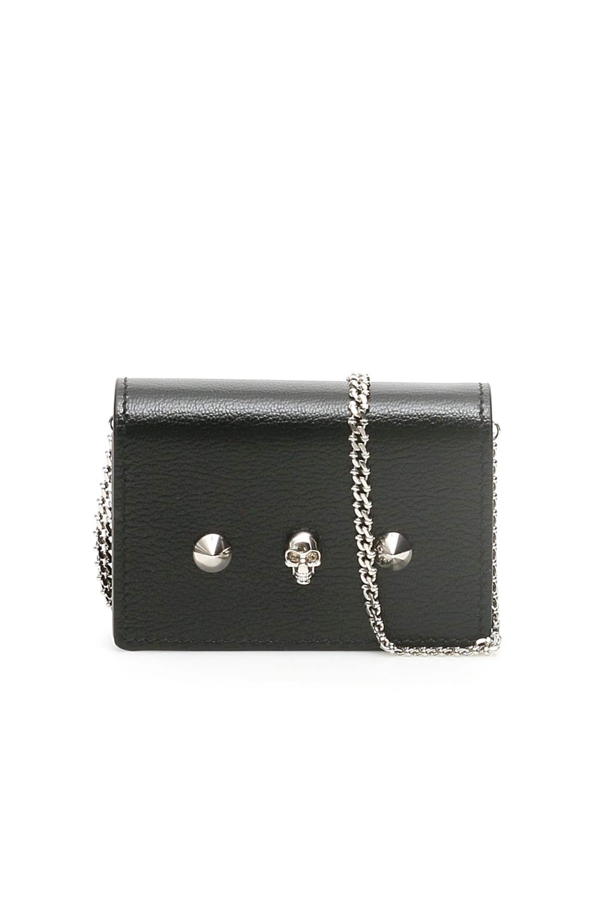 ALEXANDER MCQUEEN CARD HOLDER WITH SKULL AND CHAIN OS Black Leather