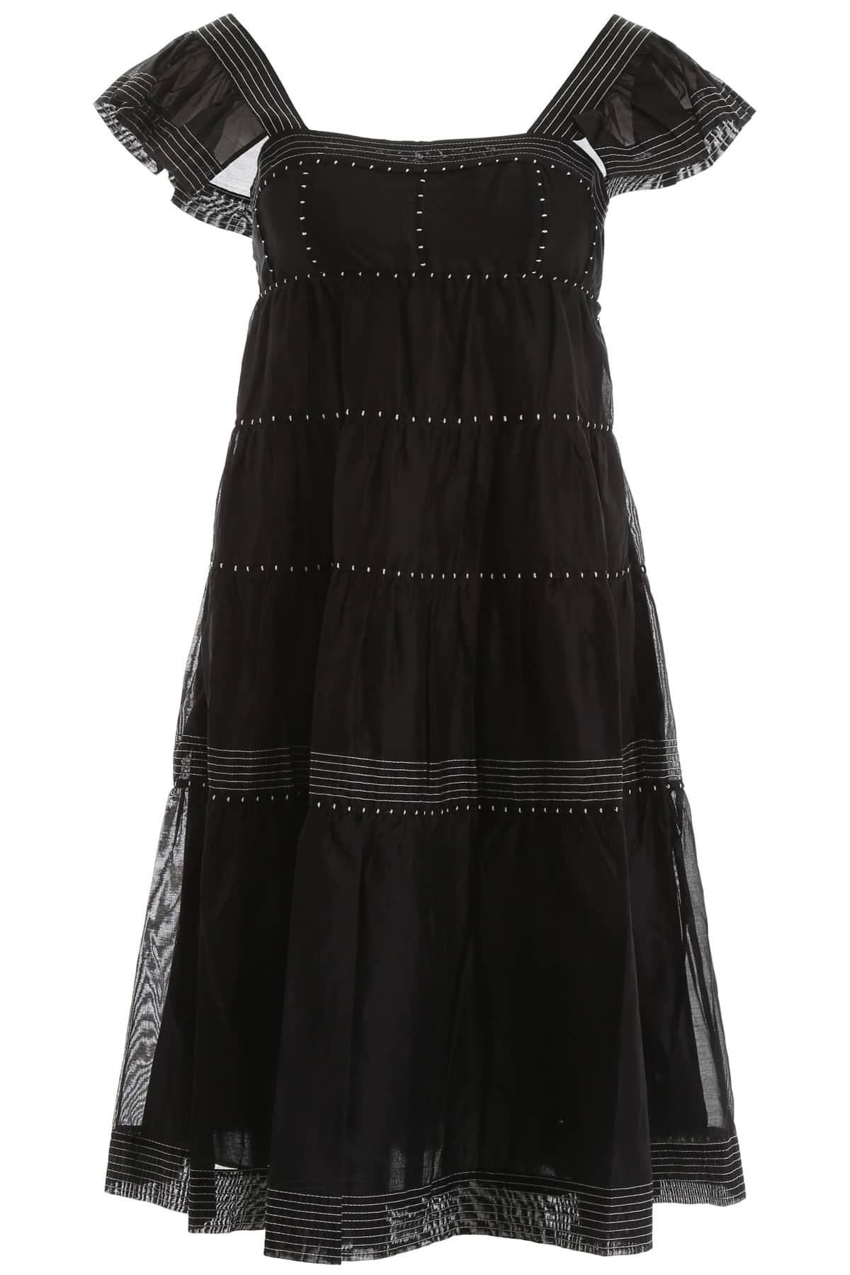 ULLA JOHNSON ROSALIE MIDI DRESS 2 Black Cotton