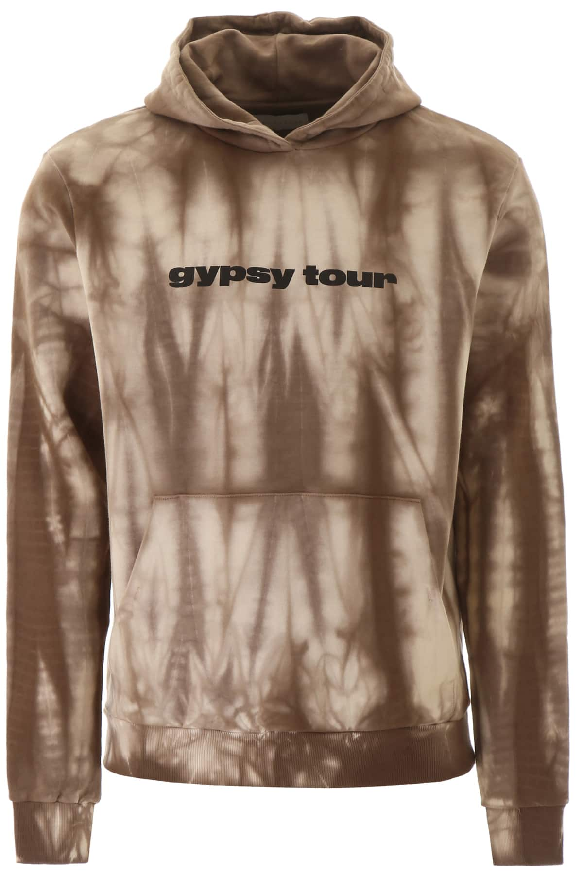 PAURA TIE-DYE HOODIE L Brown, Beige Cotton