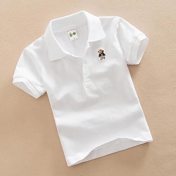 兒童白色T恤男童夏裝女童紅色打底衫純棉翻領上衣寶寶短袖班服 滿天星