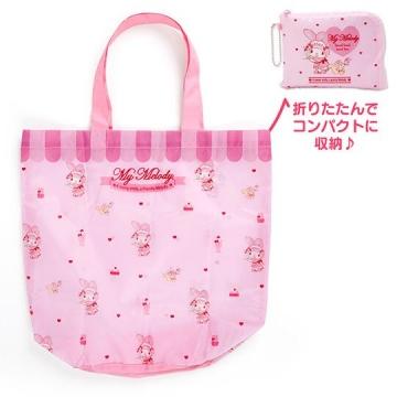 美樂蒂 折疊尼龍環保購物袋《粉.服務生》手提袋.環保袋
