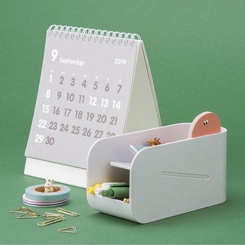 創意多功能桌面磁性雙層置物盒 商務辦公筆盒 收納盒 文具收納