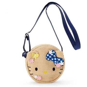 Hello Kitty 籐編斜背包 編織包 海灘包 兒童背包 圓形 (棕 造型耳)
