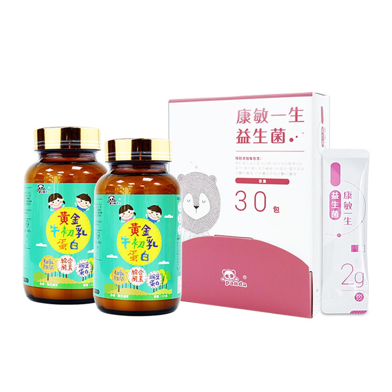 鑫耀生技Panda - 哈啾防護-康敏一生益生菌30入x1+黃金牛初乳蛋白200gx2-2g/30入+200gx2