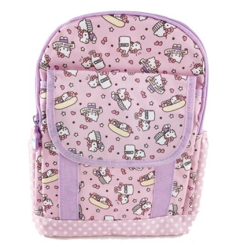Hello Kitty 後背包 兒童背包 尼龍 掀蓋雙層拉鍊 雙肩包 書包 (粉紫)
