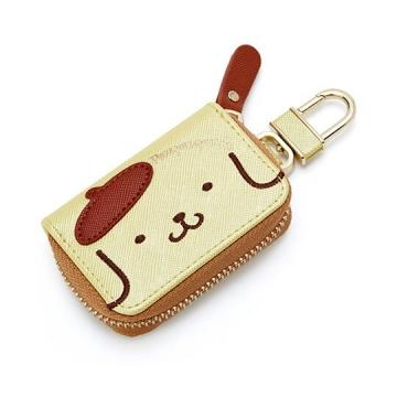 布丁狗 皮質拉鍊鑰匙包《黃棕.大臉》掛飾.收納包.遙控包
