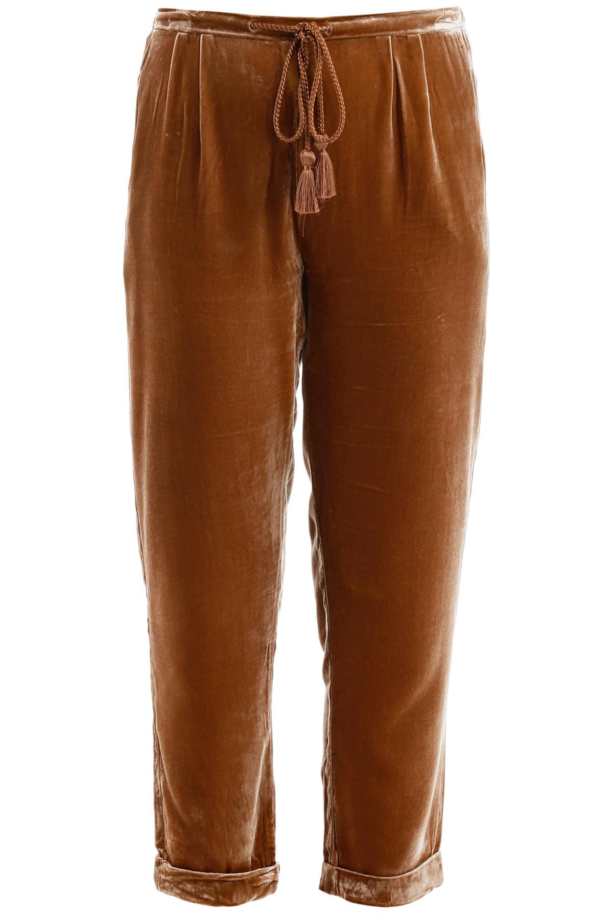 MES DEMOISELLES SPAY TROUSERS 36 Brown, Beige Silk