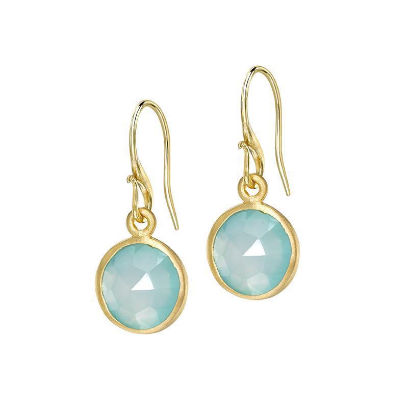 Round Chalcedony Jewel Drop Earrings