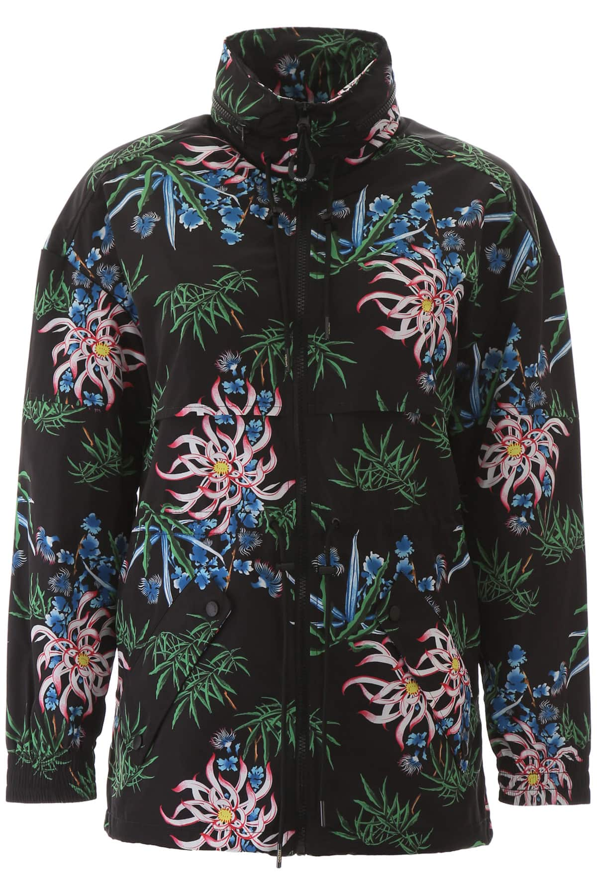 KENZO SEA LILY PRINT WINDBREAKER L Black, Blue, Red Technical
