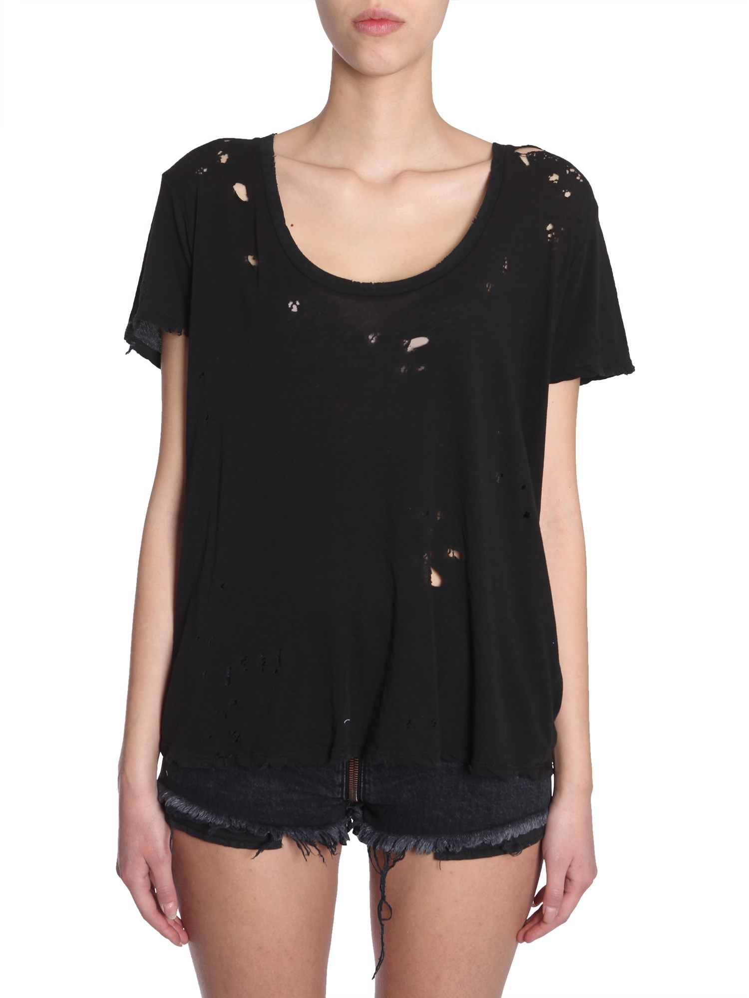 unravel distressed jersey t-shirt