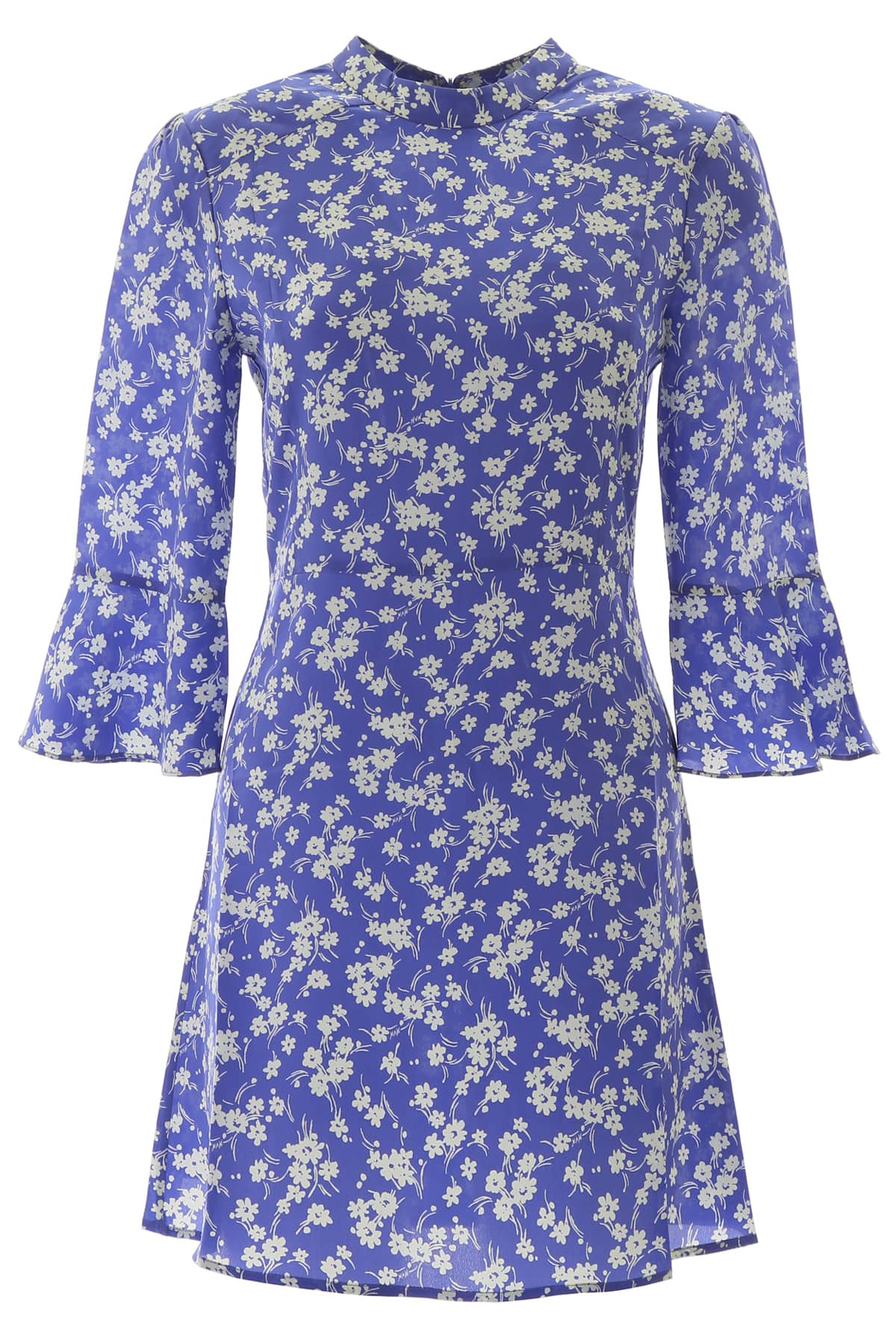 HVN ASHLEY MINI DRESS 4 Purple, White Silk
