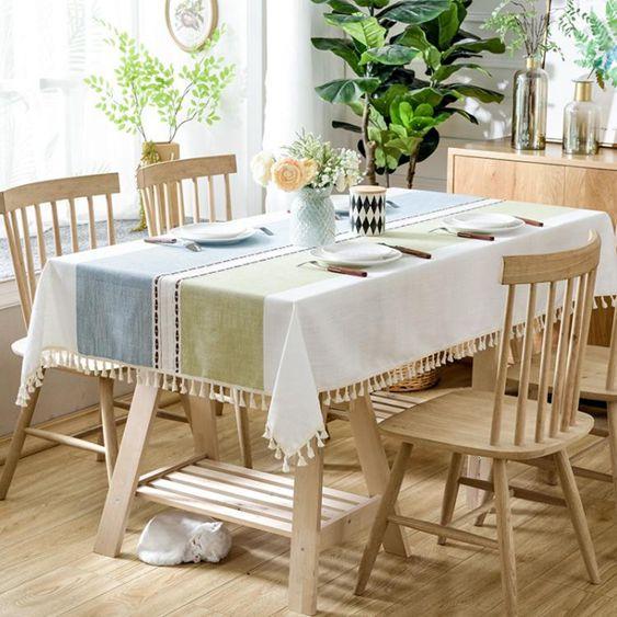 北歐茶幾桌巾布藝棉麻小清新餐桌巾蕾絲流蘇臺布亞麻電視櫃長方形