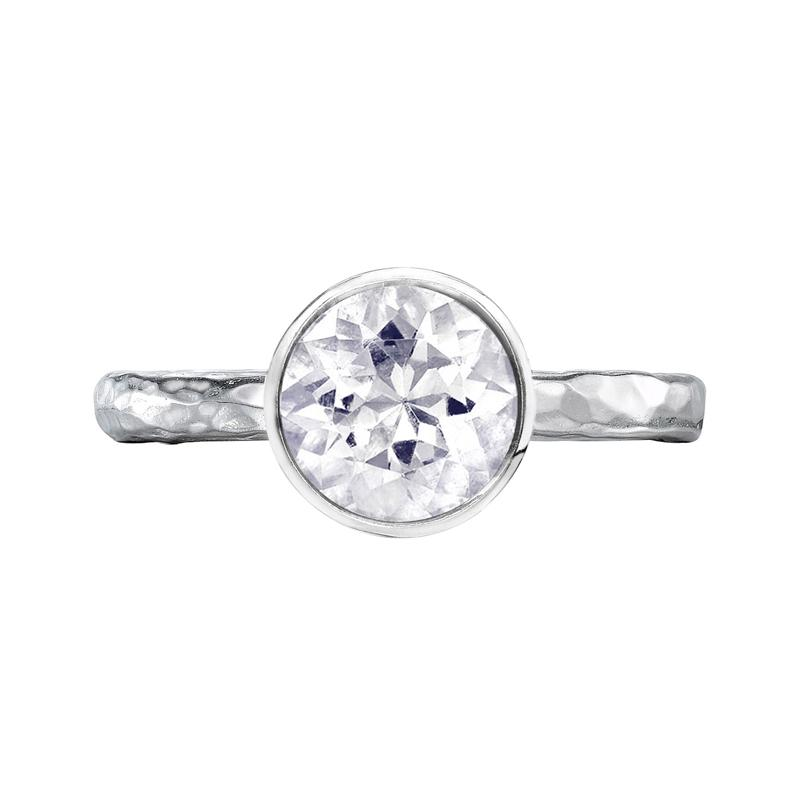8mm White Topaz Hammered Twinkle Ring
