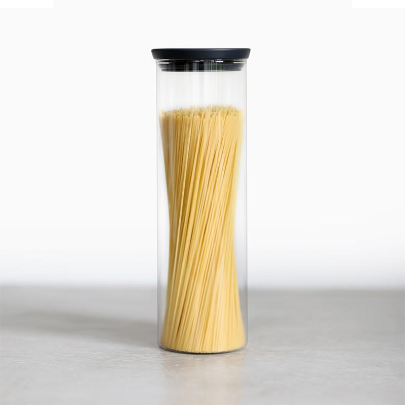 玻璃食物黑蓋儲存罐(1.9L) 1.9L