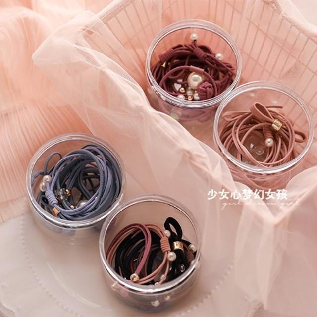 韓國可愛簡約經典珍珠橡皮筋綁髮帶 髮繩 紮馬尾頭飾組合套裝