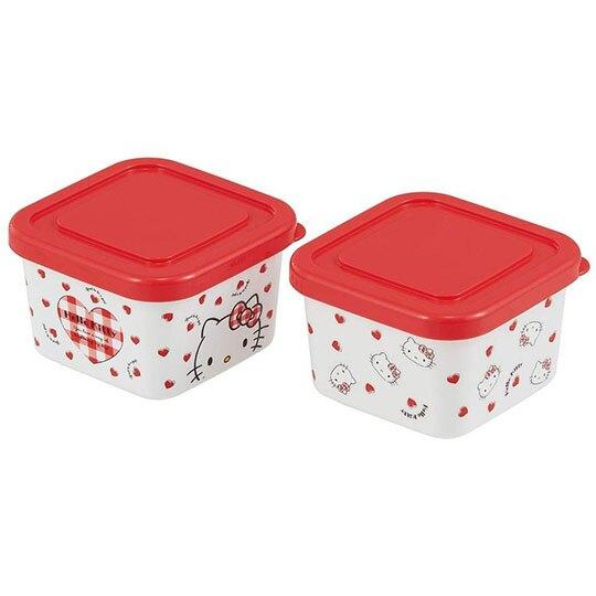 小禮堂 Hello Kitty 日製 迷你方形保鮮盒 塑膠保鮮盒 迷你便當盒 180ml  (2入 紅白 愛心)