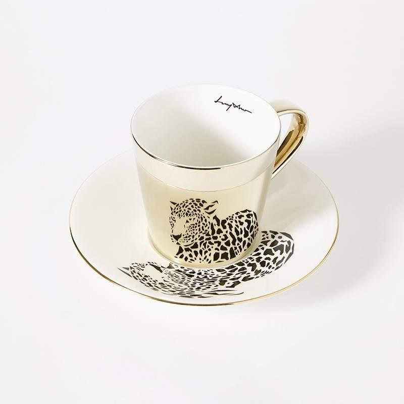 鏡面倒影動物圖案咖啡杯-美洲豹 光滑杯面