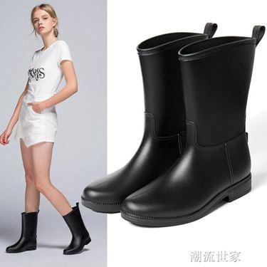 雨牧時尚雨靴中筒雨鞋女成人防水加絨膠靴套鞋防滑膠鞋水靴水鞋居家物語生活館