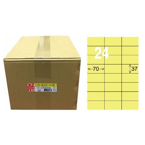 【龍德】A4三用電腦標籤 37x70mm 淺黃色 1000入 / 箱 LD-802-Y-B