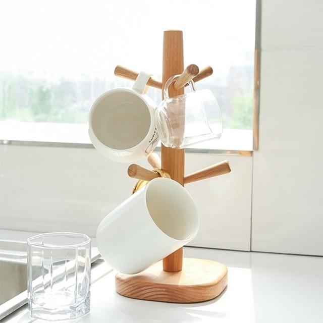 歐式原木直立杯架 創意時尚收納架 簡約櫸木六爪杯架