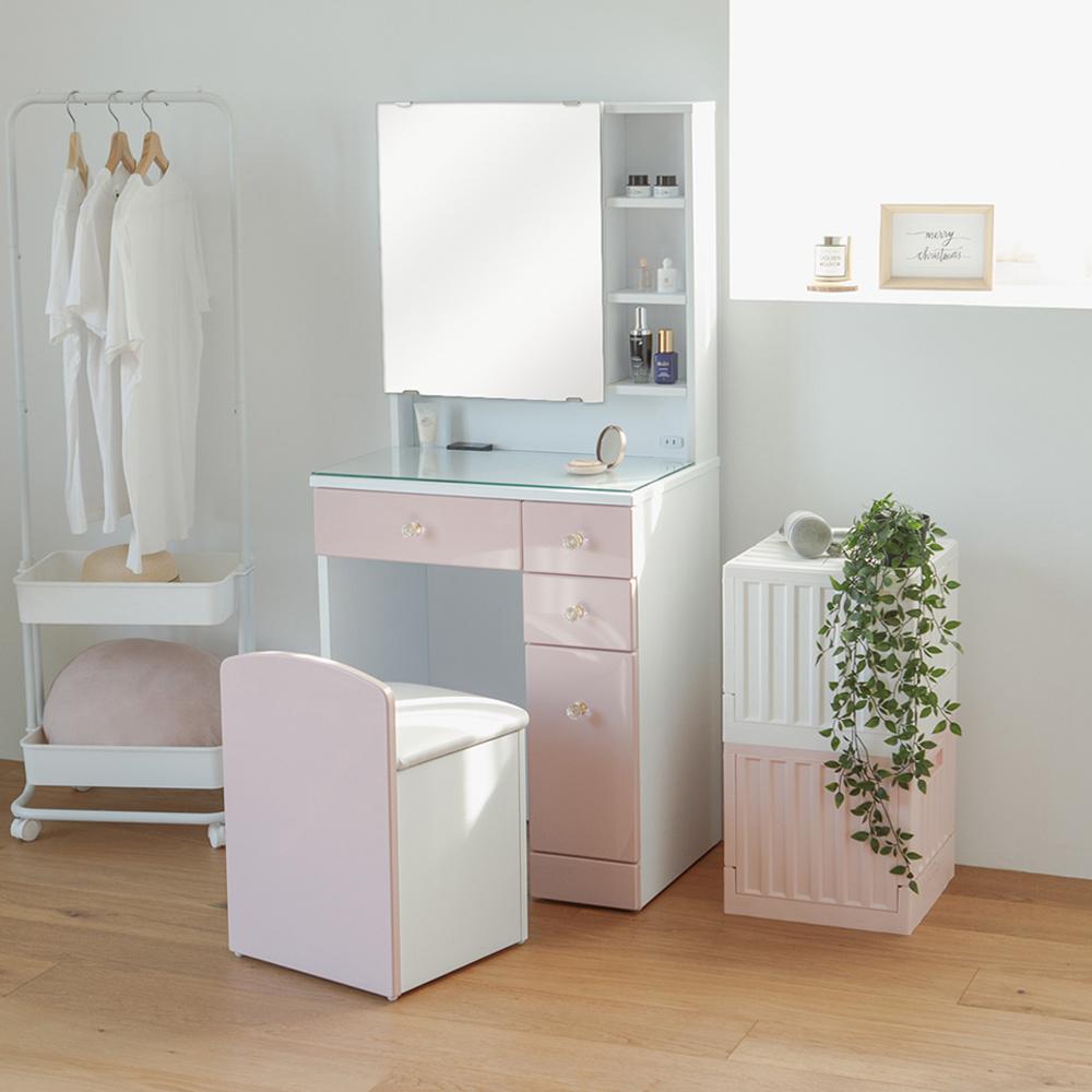 Peachy Life 收納化妝桌椅組/化妝台/梳妝台/化妝椅(2色)