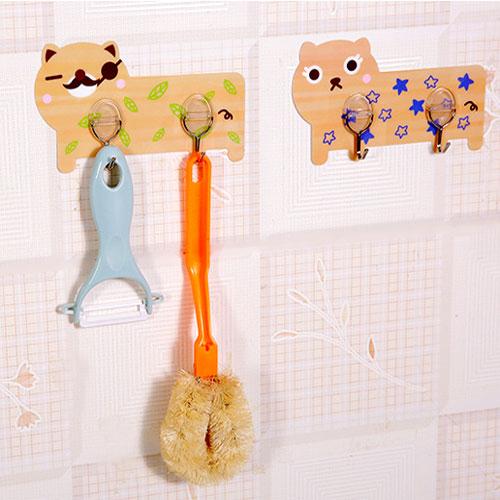 卡通強力無痕雙掛鉤 廚房粘貼掛鉤 門後免打孔無痕粘鉤 可水洗