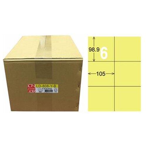 【龍德】A4三用電腦標籤 98.9x105mm 淺黃色 1000入 / 箱 LD-808-Y-B
