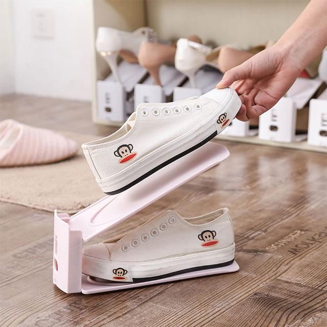 一體組合式雙層鞋架 簡約設計 現代收納鞋架