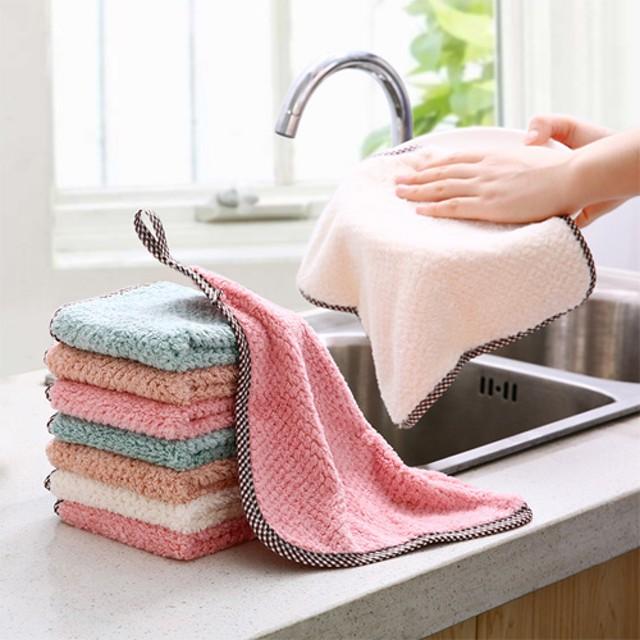 可掛式珊瑚絨雙面抹布 廚房菠蘿紋不掉毛吸水擦手巾 素色洗碗布