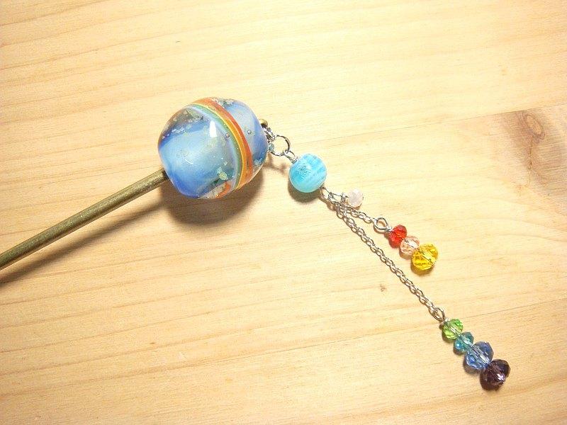柚子林手工琉璃 - 勇敢的向前走吧  - 彩虹系列 - 夜光髮簪
