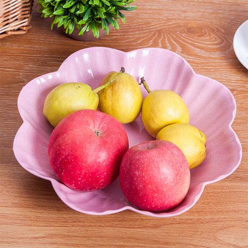 小麥秸稈歐式簡約水果盤(小) 客廳茶几塑料糖果盤 乾果盤 零食盤