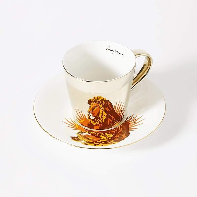 鏡面倒影動物圖案咖啡杯-獅子 光滑杯面