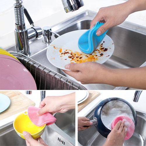 兩面食品級矽膠蔬果洗碗刷 萬能洗刷器 隔熱墊 廚房清潔用品