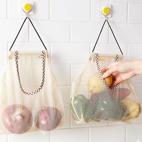 創意可掛式蔬果收納網袋 便攜式手提多功能鏤空透氣掛袋 廚房 衛浴 收納袋 收納箱