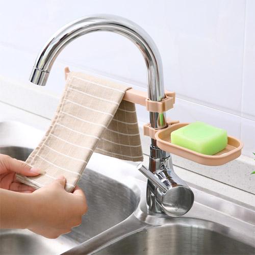 夾式可調節水龍頭瀝水籃 水槽瀝水置物架 瀝水架