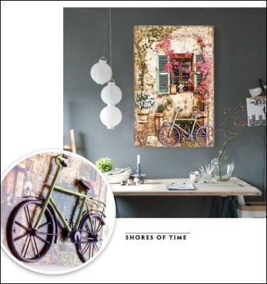立體無框畫 仿舊綠色窗戶腳踏車歐洲街景圖40*60木版畫花草房子壁畫壁飾掛畫複製畫變電箱總電源牆面佈置鄉村風【歐舍傢居】